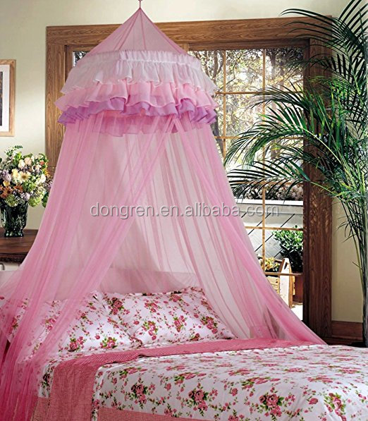 Triple Lace Ruffle Princess Pink Bed Canopy
