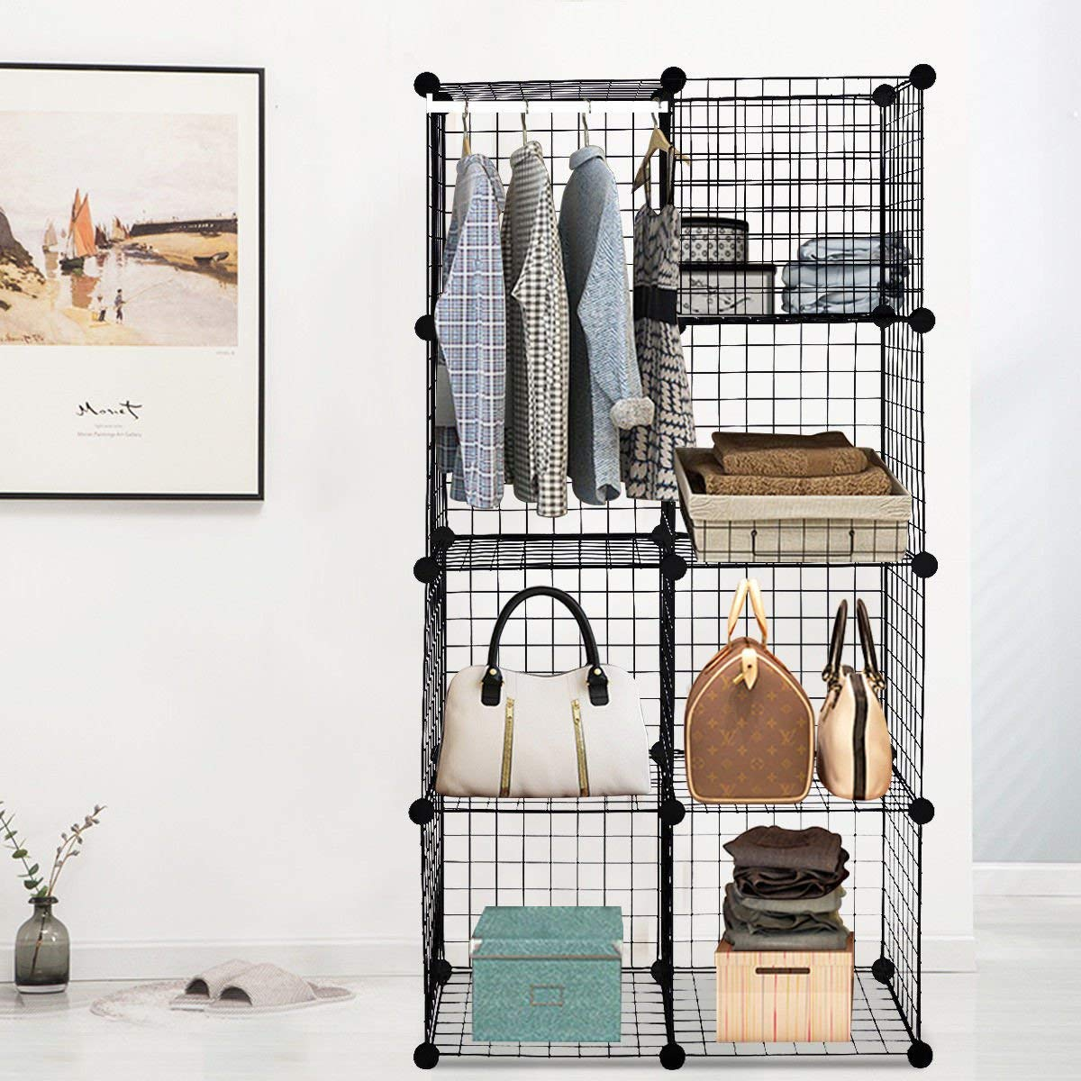 Get Quotations · Globe House Products GHP Black Flexible Iron Wire 8 Shelf Storage  Cube Organizer With Plastic
