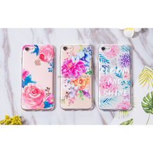 Watercolor Flowers Phone Cases for iPhone 8 7 6 6S Plus Case Soft TPU Painted Roses Flowers Case Shell Cover