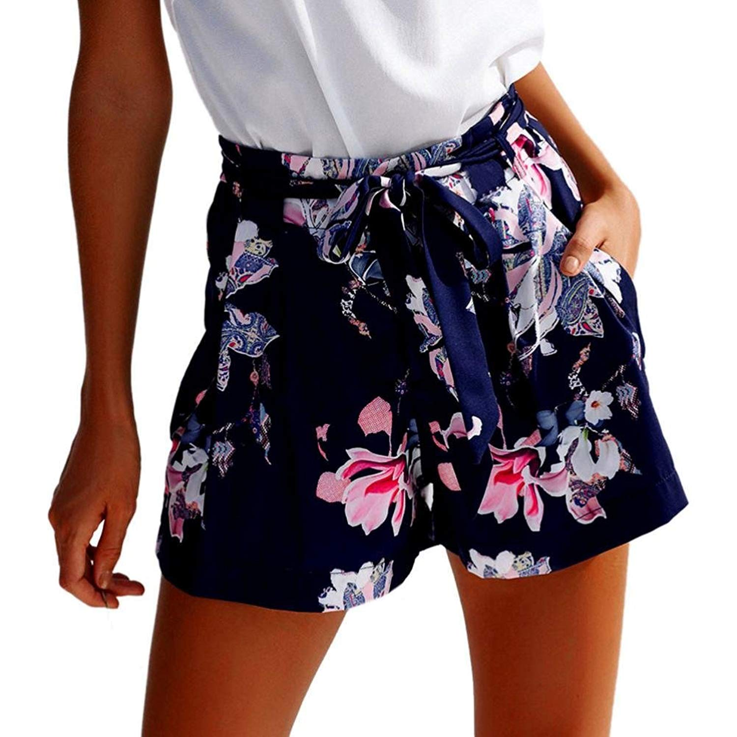 3a55d079b42 Get Quotations · 2018 Fashion!Women New Hot Pants Summer Floral Shorts High  Waist Short Pants Trousers