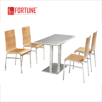Easy Care Stainless Steel And Bentwood Lunch Table Sets For Staff Student Can Foh