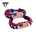 Best Selling Paracord Bracelet American Flag Survival Bracelet USA Dog Tag Bracelet Charms