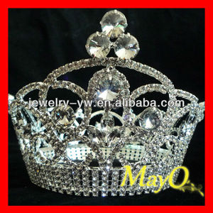 Beauty Rhinestone Queen pageant crown for sale, full crystal round crown, big round pageant crowns