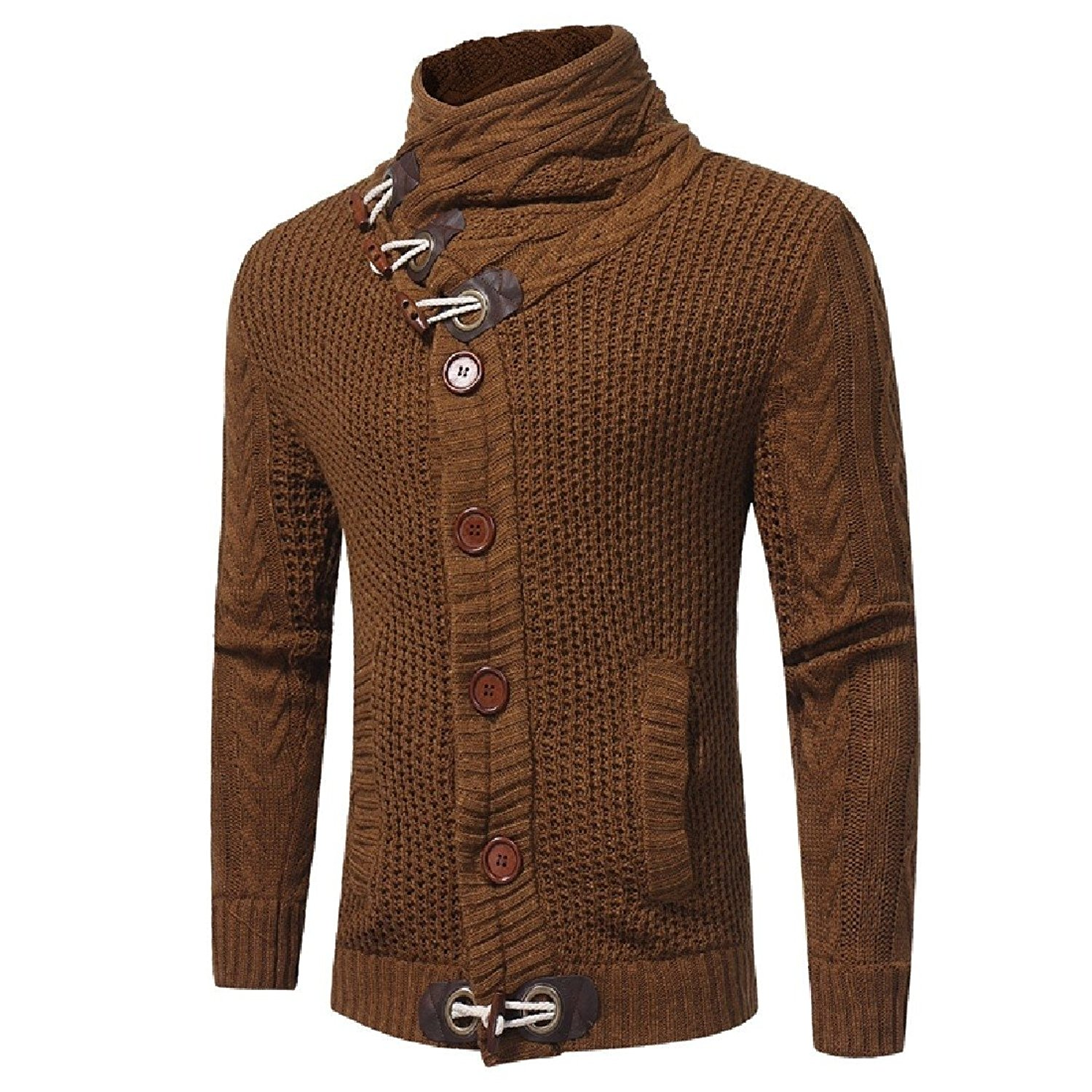 DressUMen Solid Color Knitting Long Sleeve Tops Pullover Round Collar Sweaters