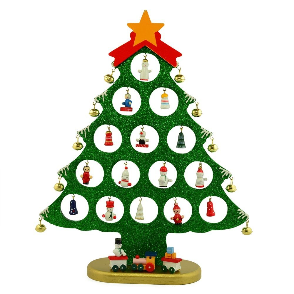 12 25 miniature ornaments wooden tabletop christmas tree - Small Christmas Ornaments