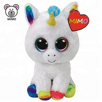 OEM Custom Cute White Unicorn Plush Toy 2018 Fashion Cheap TY Beanie Boos  Big Eyes Stuffed 8594f748dae