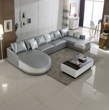 2017 Modern Grey White U Shape Sectional Sofa Leather In Stock Sl0006