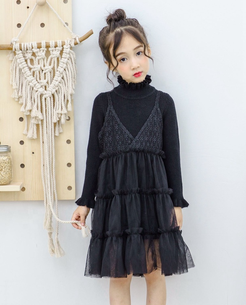 B60019A two pieces of Korean girls' pullover with wool halter sweater