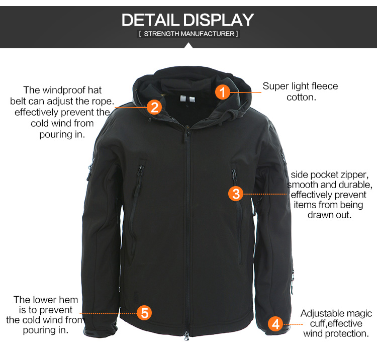OEM New Fashion Mens Outdoor Military Softshell Jacket