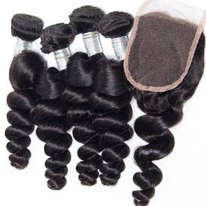 "Passion Beauty Brazilian Virgin Remy Human Hair Extension Weave 4 Bundles With Closure - Natural Black,Loose Wave (12""14""16""18""+12""closure)"