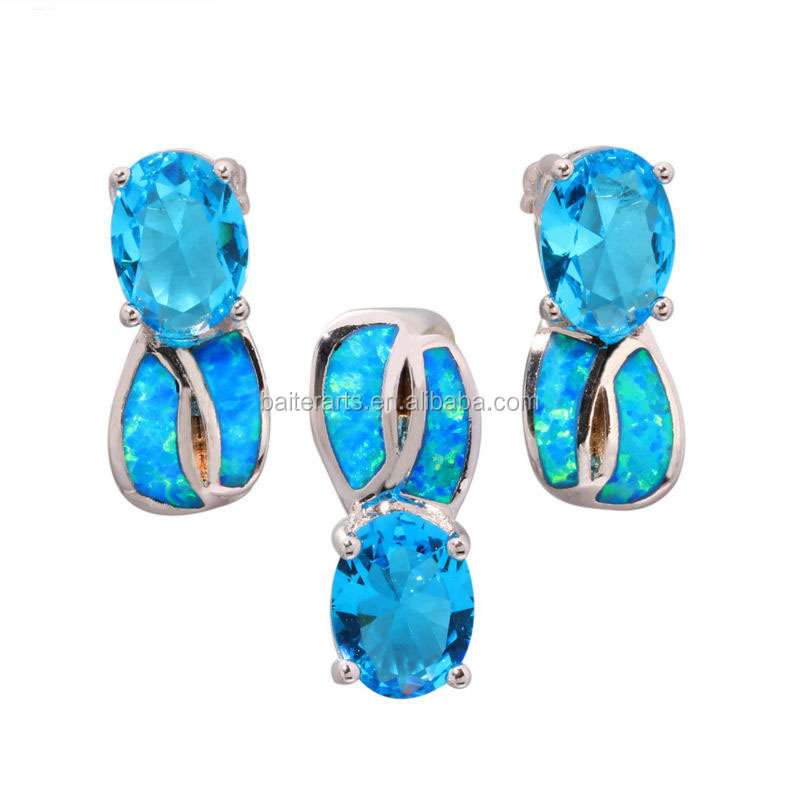 Shining Blue Opal Oval cut Zircon CZ Silver Pendant Stud Earrings Lady's Jewelry Set