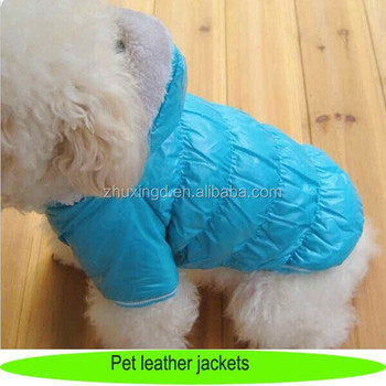 Pet leather jackets, good quality blue dog outwear with fur, winter jackets and coats