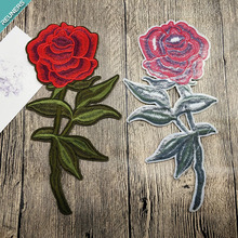 Custom rose embroidery patch for clothing