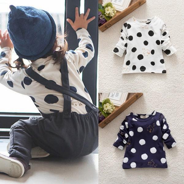 Дети новорожденных девочек мальчиков унисекс горошек длинным рукавом блузка топы футболки хлопок основные тис одежда