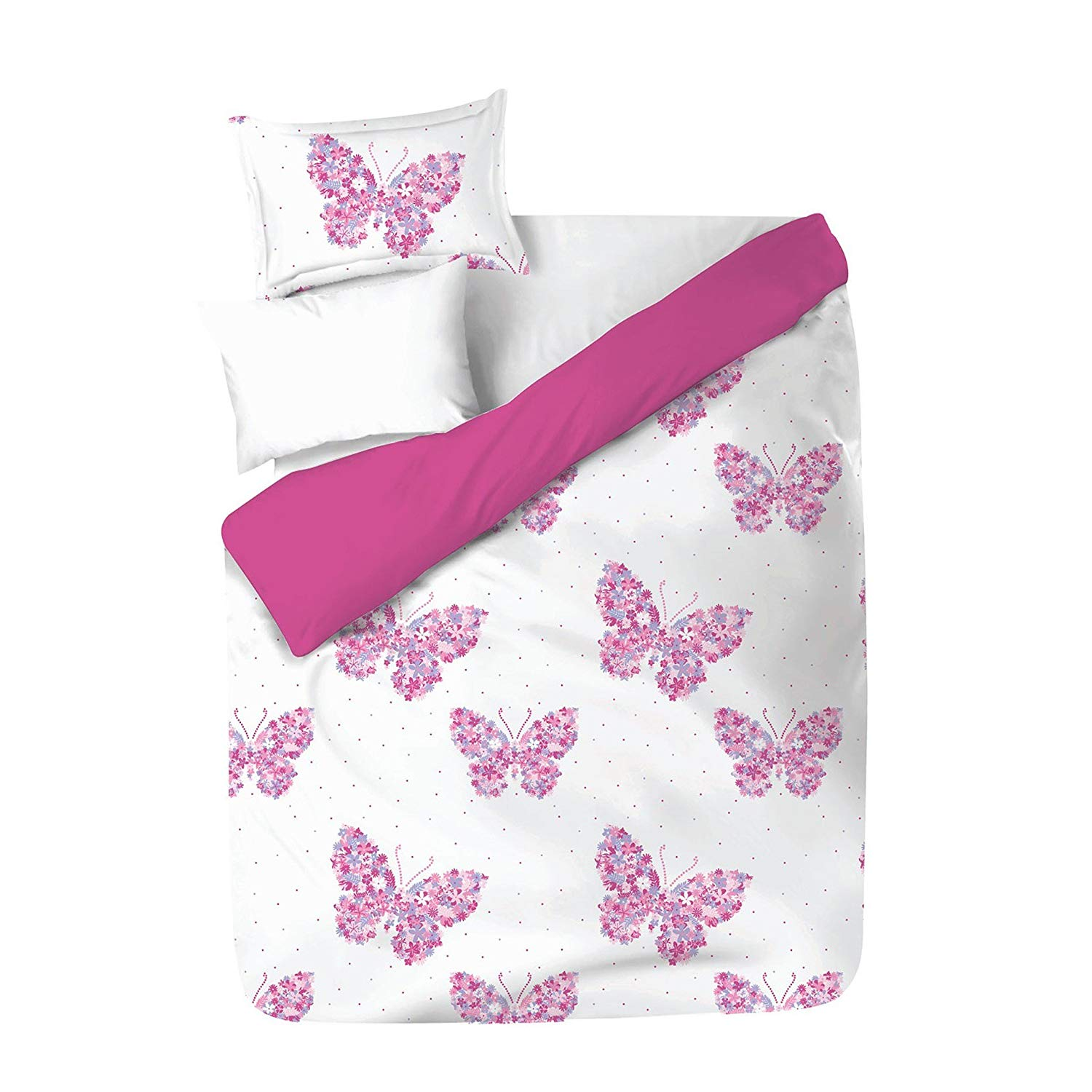 2 Piece Girls Pink Lilac Floral Butterfly Theme Comforter Twin Set, Beautiful Multi Tiny Flowers Decorated Butterflies Print, All Over Boho Chic Polka Dots Print, Vibrant Colors, Microfiber Polyester