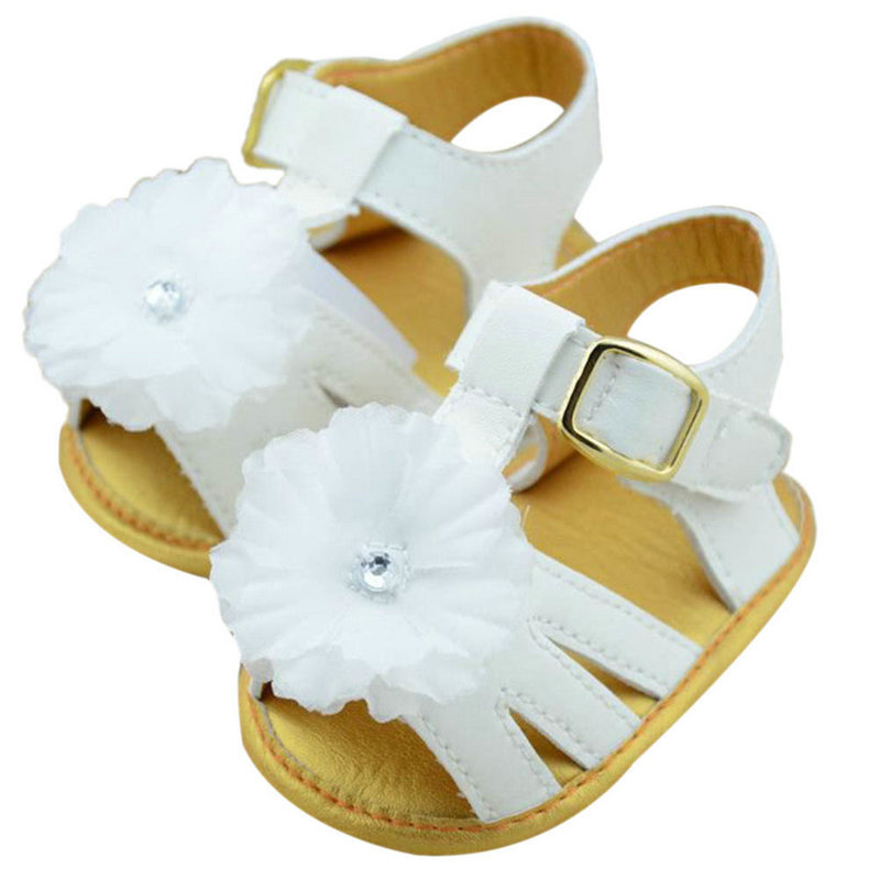 2015Baby Summer White Flower Toddler Infant Girls Soft Sole Princess Shoes Prewalker Baby Shoes