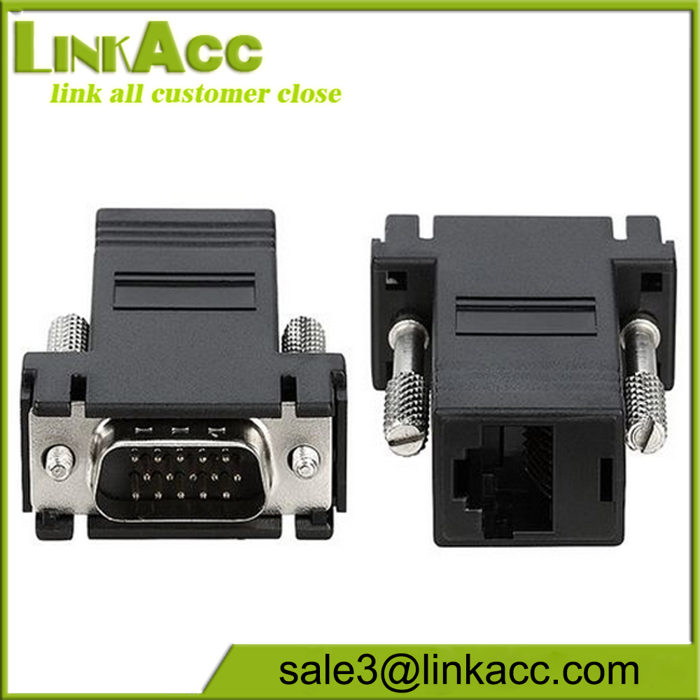 2 X VGA to RJ45 DB-15, Male to Female LAN CAT5 5e 6 Network Cable Extend Adapter