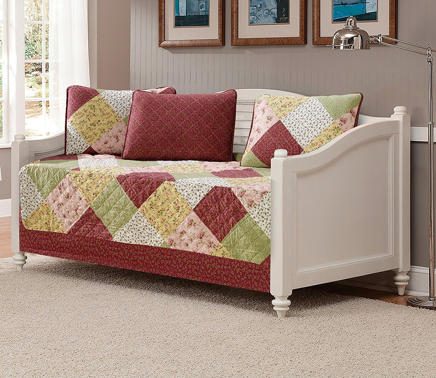 Fancy Collection 5pc DayBed Quilted Bedspread Coverlet Set Patchwork Floral Burgundy Off White Pink Beige New
