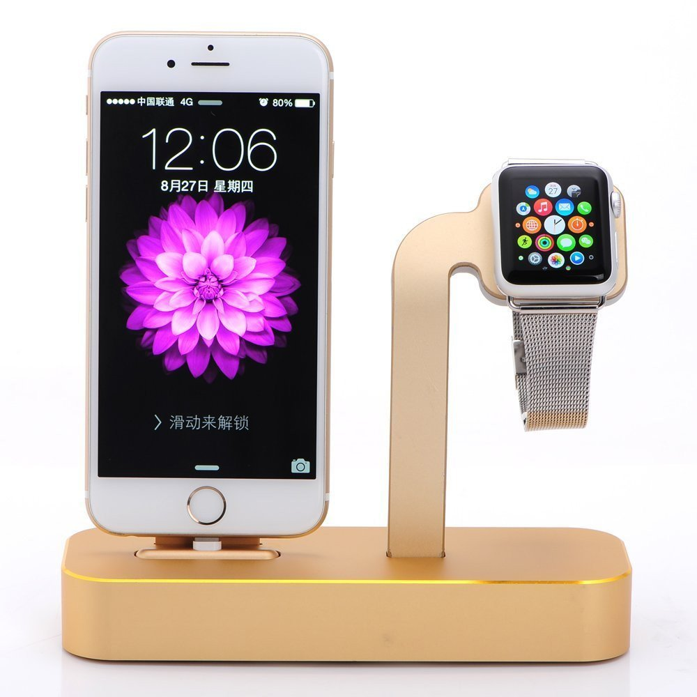 iPhone 6s/ 6s Plus Dock,Apple Watch Stand, COTEetCI [2 in 1 Charging Dock] Apple Watch Charging Stand, Solid Aluminum Charger Station for Apple Watch 38mm/ 42mm, iPhone 5/SE (Gold)