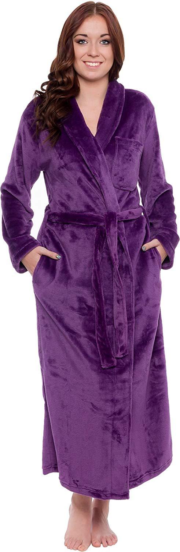 Silver Lilly Lightweight Full Length Kimono Robe for Women - Plush Comfy Long Bathrobe (Sizes Small - Plus Size XXL)