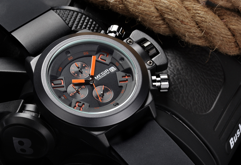 Megir марка черный силиконовый военная часы аналоговый дисплей дата хронограф спортивные часы мужчины наручные часы relogio masculino