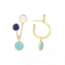 SJ Wholesale SJYPH028 Fine Jewelry 925 Sterling Silver 3 Colors Nature Turquoise Big Stone AAA Cubic Zirconia V Fashion Earrings