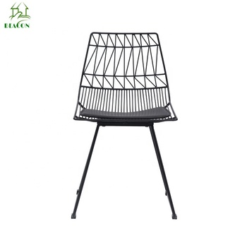 modern hot sale black metal wire dining chair