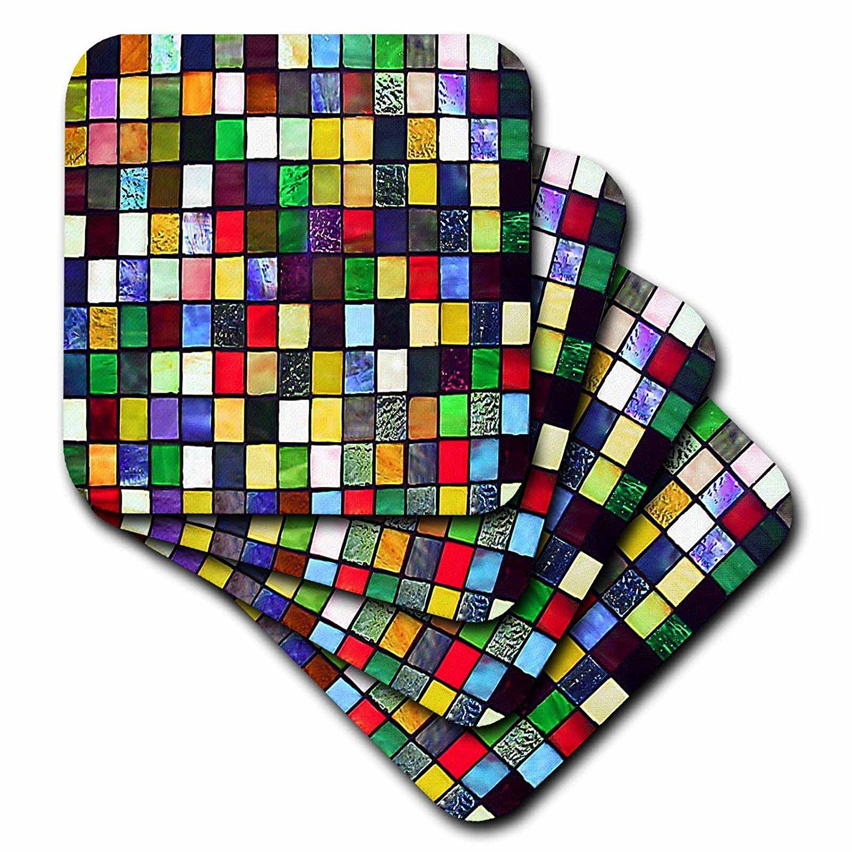 Lee Hiller Designs Mosaic Tiles - Multi Color Glass Mosaic Tile Panel Print - set of 4 Ceramic Tile Coasters (cst_32415_3)