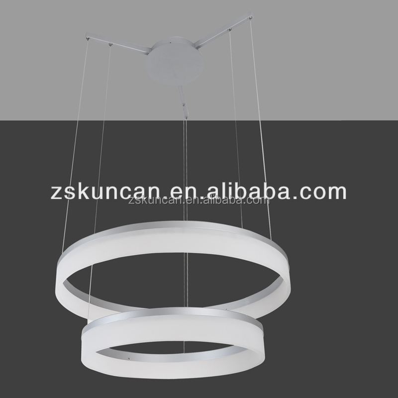 modern 2-ring LED pendant lighting acrylic+metal
