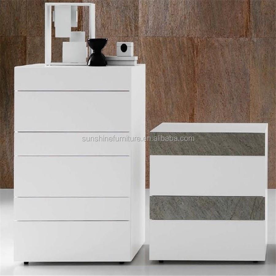 Odm oem ontwerp witte goedkope meubelen slaapkamer houten ladekast ...