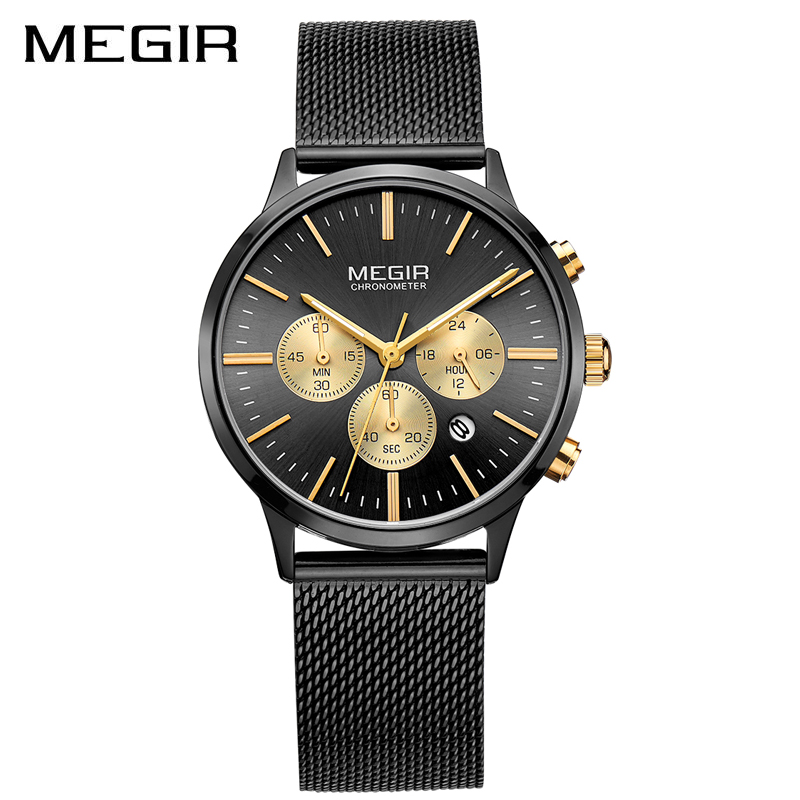 Top Ladies Fashion Bracelet Wristwatch Stainless Steel Quartz Chronograph Clock Date Luxury Megir relojes de mujer women watches фото