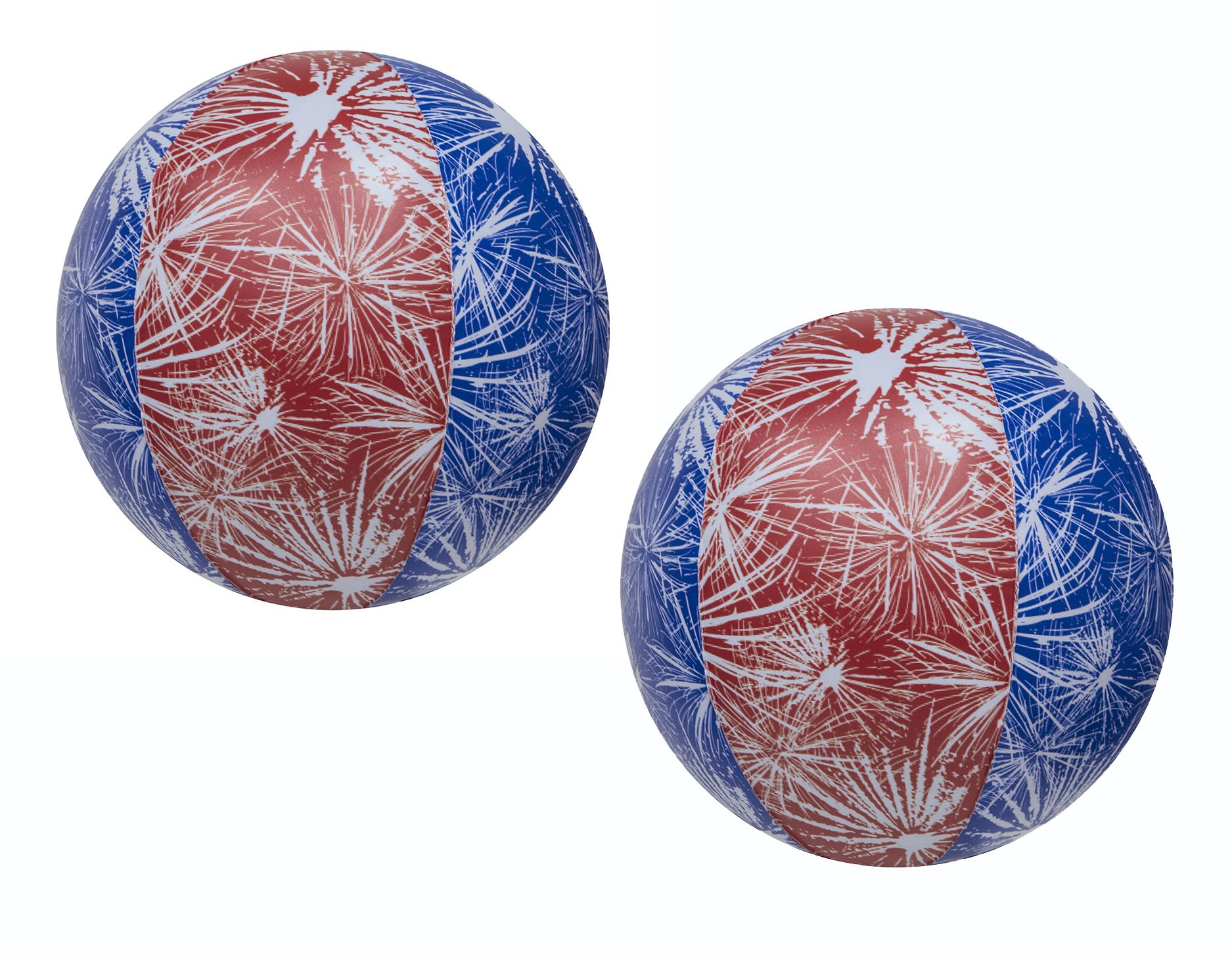 Impact Activated Light-Up Beach Ball with Fireworks Design - 14in diameter 2 Pk