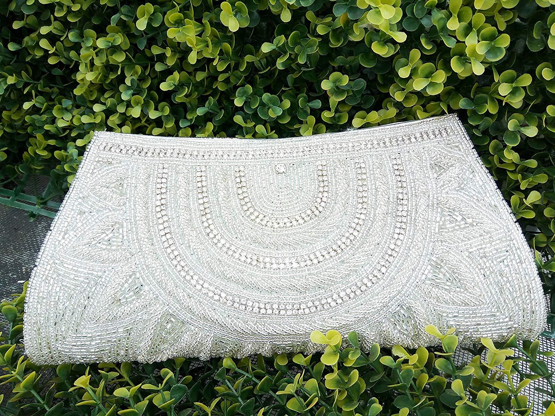 Artcraving White Clutch, Novelty Bridal Purse, White pearl bead evening bag, formal bag retro style, Vintage White Clutch, Vintage style Indian beaded purse
