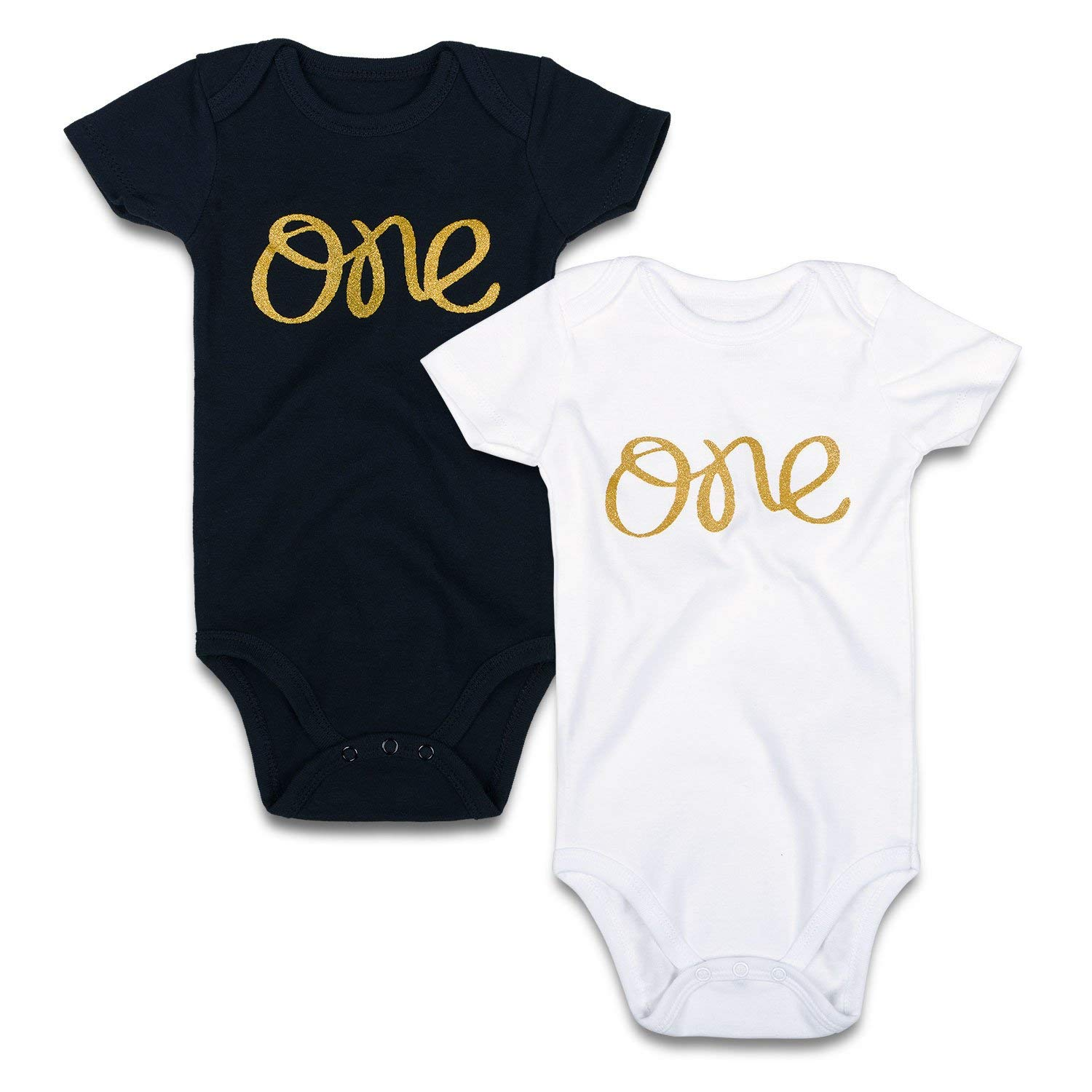 33ac5f73cc Get Quotations · SOBOWO Gold One 2-Pack Short Sleeve Bodysuits for Newborn  Girls Boys