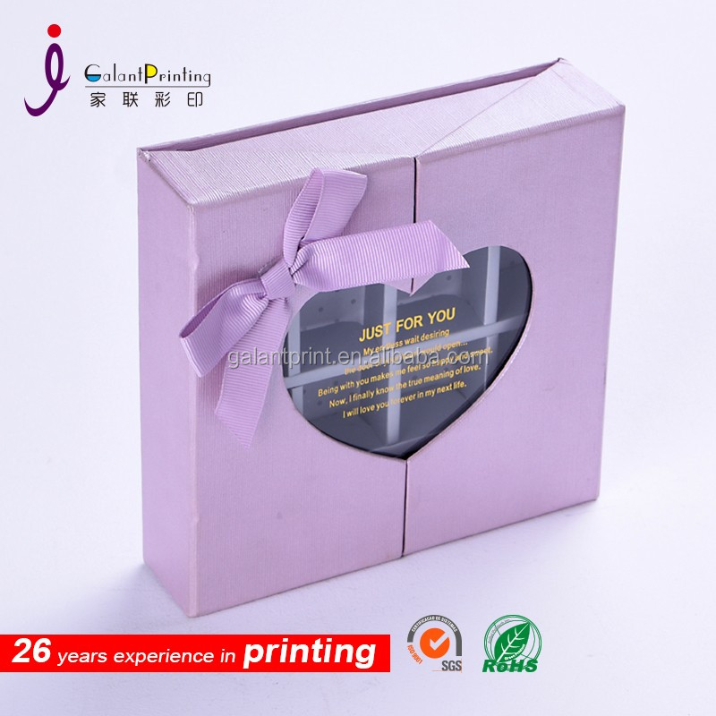 Customized fancy box chrismas paper gift box with clear window
