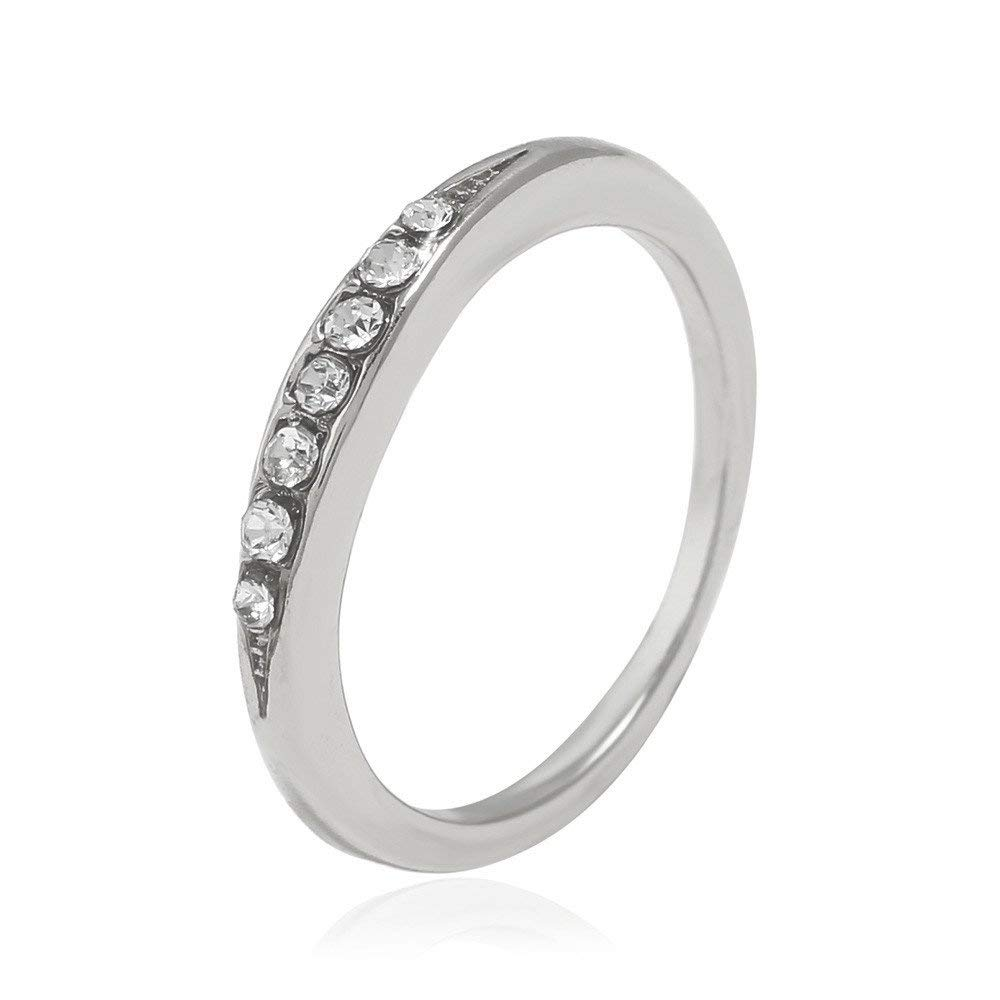 Fashion Ring, Hoshell Fashion Women Alloy Thin Simple Diamond Ring Wedding Party Women Gift Clearance Ring (8, ❀ Silver)