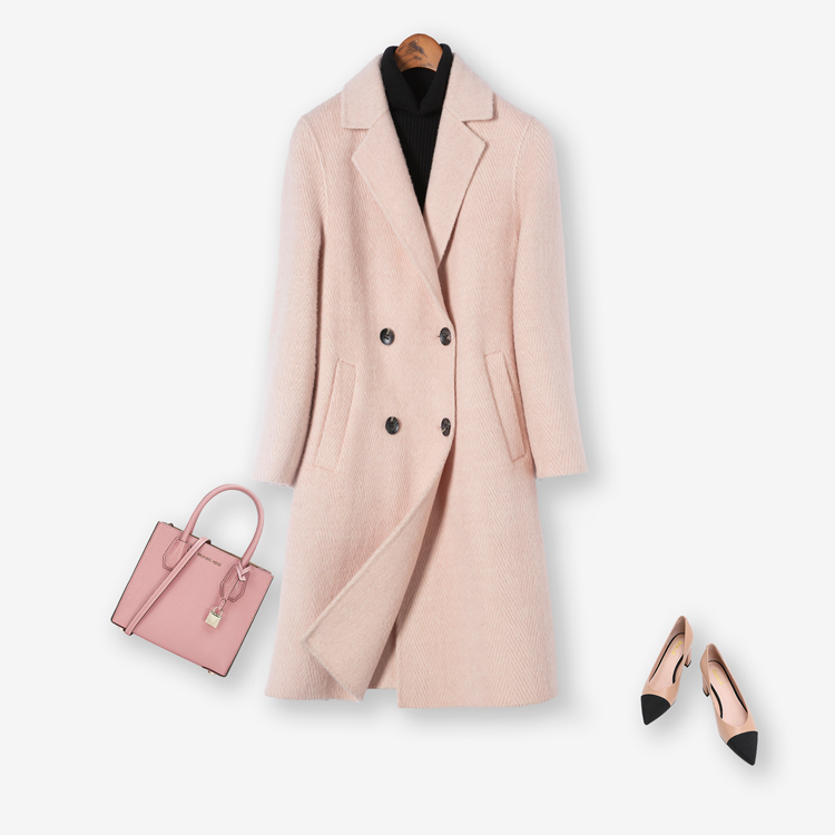 Classic Style Pink Autumn Winter Women Wool Trench Coat