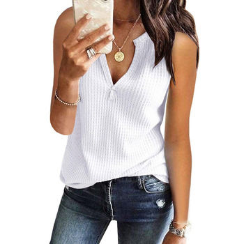 HOT SALE Sleeveless Button Knitting Women T Shirts Popular Casual Ladies Sexy Tops And Blouses For Girls