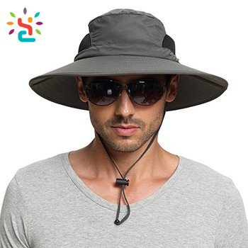 27d9c0d8bae Men s Wide Brim Sun Hat Waterproof Sun Protection Bucket Hat Boonie Safari  Cap for Summer Outdoor