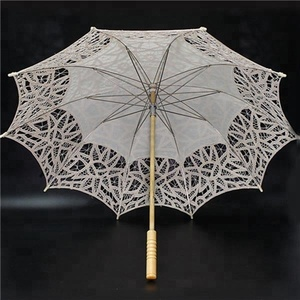 Chinese White Cotton Lace Parasol Wedding Umbrella