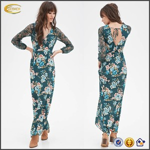 Ecoach fashion women's maxi dress OEM manufacturer wholesale latest designs batik maxi dress