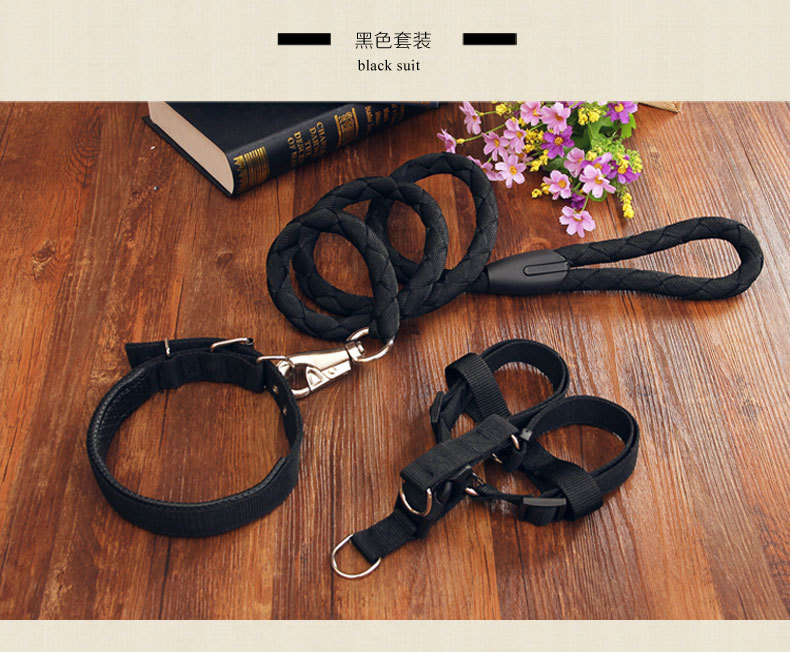 Braided nylon three-piece dog leash and leash teddy golden hair leash