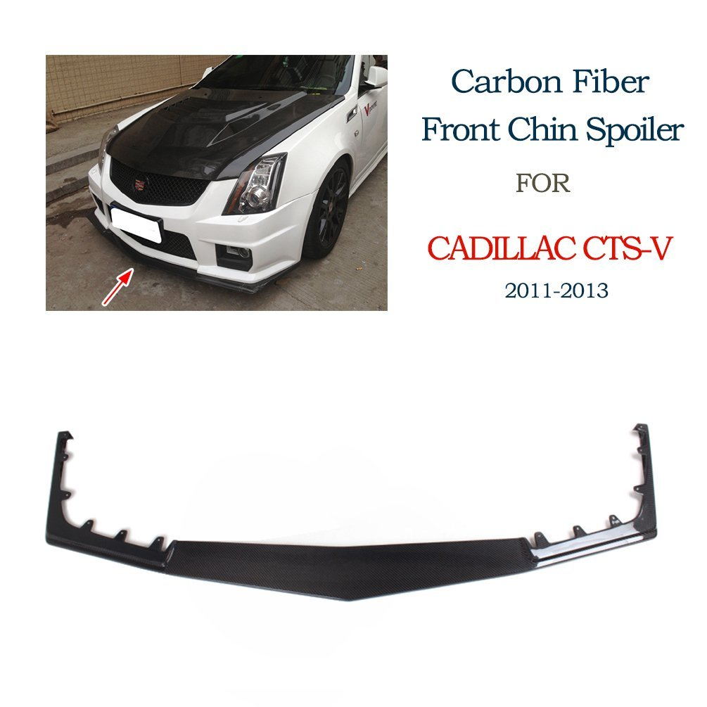 JCSPORTLINE Carbon Fiber Front Chin Spoiler for Cadillac CTS-V Coupe Sedan 2009-2015 (Front Lip)