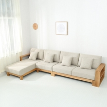Nieuwe model sofa sets foto moderne ontwerpen thuis funiture <span class=keywords><strong>L</strong></span> <span class=keywords><strong>type</strong></span> houten sofa frame stof materiaal sofa set