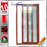 Australian standard wooden grain aluminium clad color aluminium framed sliding door with double glass