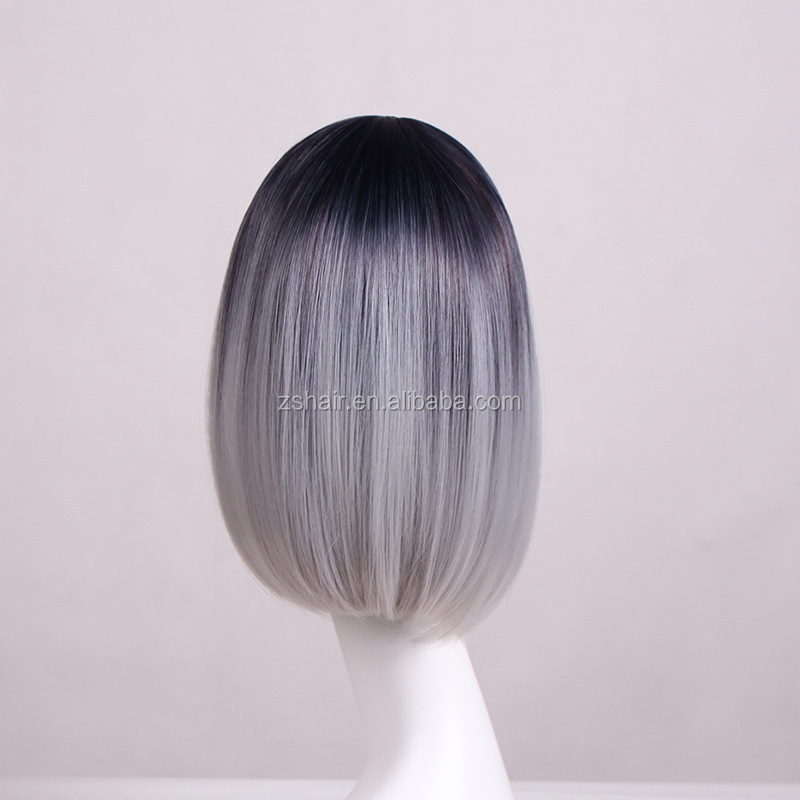 Fashion Bob Straight Middle Tone Black And Grey Ombre Heat Resistant Synthetic Hair Wigs For Women