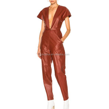 2018 neueste Tiefe Hals Kurzarm Belted Taille Trendy Frauen <span class=keywords><strong>Leder</strong></span> <span class=keywords><strong>Overall</strong></span> HSP9378