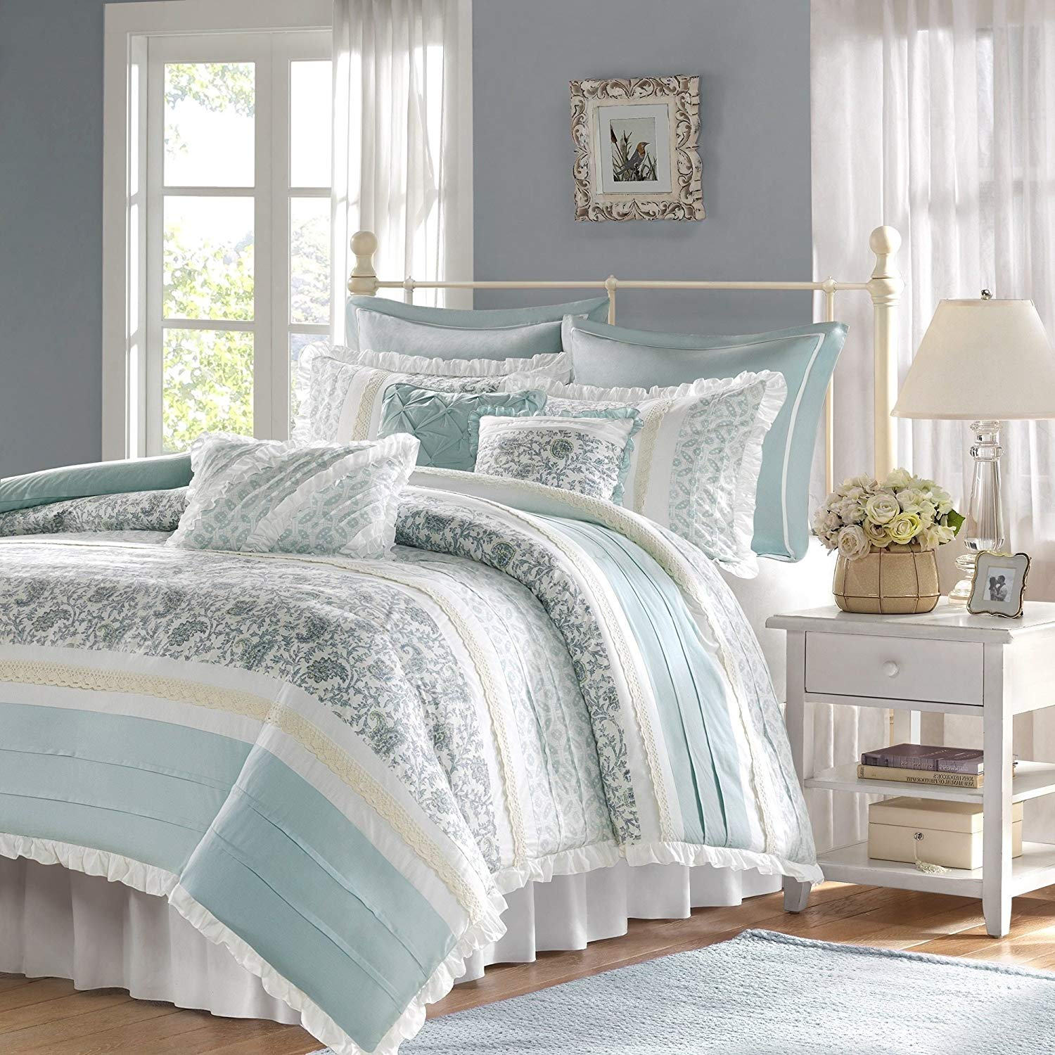 9 Piece Periwinkle Blue Green Paisley Duvet Cover Queen Set, Blue White Shabby Chic Adult Bedding Master Bedroom Stylish Pintuck Ruffled Pattern Ruched Elegant Themed Traditional, Cotton