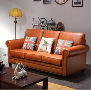 Room orange color leather sofa 1+2+3 seaters sectional sofa sets