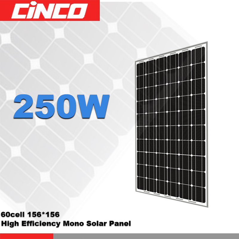 250W Solar Panel Mono Crystalline Silicon Solar Module Used for PV Home solar system
